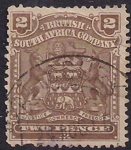 British South Africa Company 1898 - 08 QV 2d Brown used SG 79 (A796  )