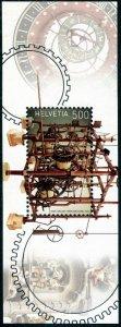 HERRICKSTAMP NEW ISSUES SWITZERLAND Clocks Souvenir Sheet w/ Silver Foil