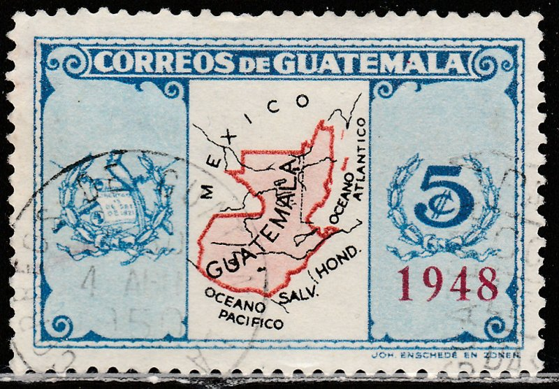 GUATEMALA 324, MAP SURCHARGED FOR 1948, USED, VF. (401)