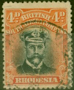 Rhodesia 1922 4d Black & Orange-Vermilion SG294 Fine Used