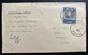 1939 Timboroa Kenya Highest Railway Station  Cover To Colton OR USA