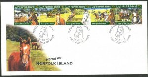 NORFOLK IS. Sc#788 2003 Horses on Norfolk Strip of 5 Complete Official FDC