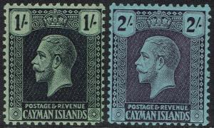 CAYMAN ISLANDS 1921 KGV 1/- AND 2/- WMK MULTI SCRIPT CA