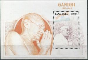 Tanzania 1998. Mahatma Gandhi, 1869-1948 (MNH OG) Souvenir Sheet