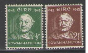 Ireland Sc 126-7 1943 Rowan Hamilton stamps mint