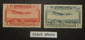 Afghanistan C7, 9. 1951 5af, 10af Plane over Kabul, NH