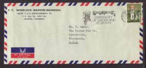 Singapore to Janesville,WI 1973 Airmail Cover Number Ten Size
