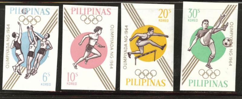 Philippines Scott 915-918 MH* 1964  Olympic Imperforate set