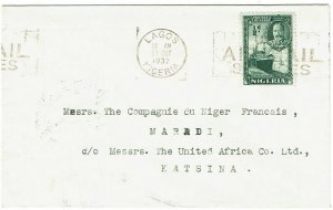 Nigeria 1937 Lagos slogan cancel on internal unsealed rate cover