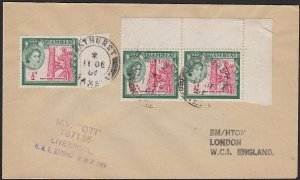 GAMBIA 1957 Ship cover with cachet of MV OTI - Bathurst cds.................H315