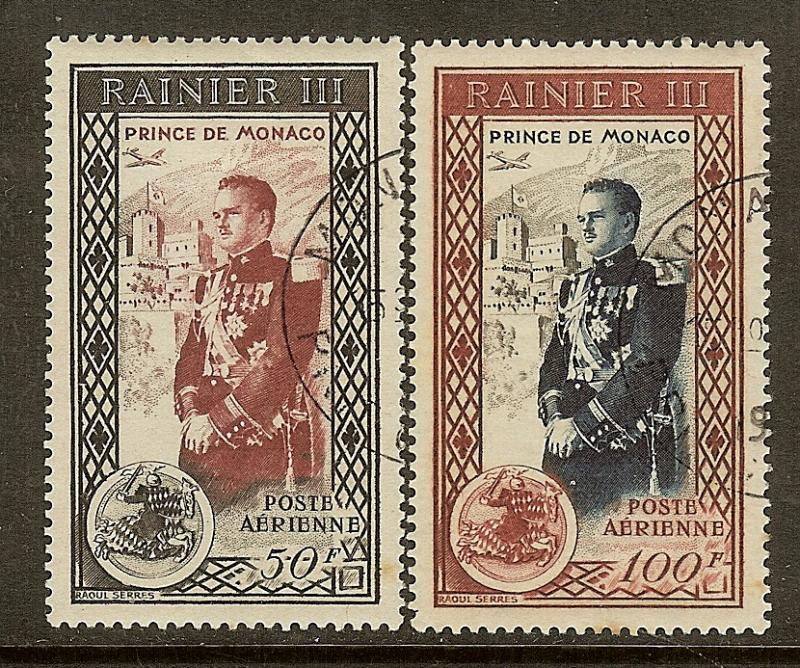 Monaco, Scott #'s C34-C35, Prince Rainier III Airmails, Used