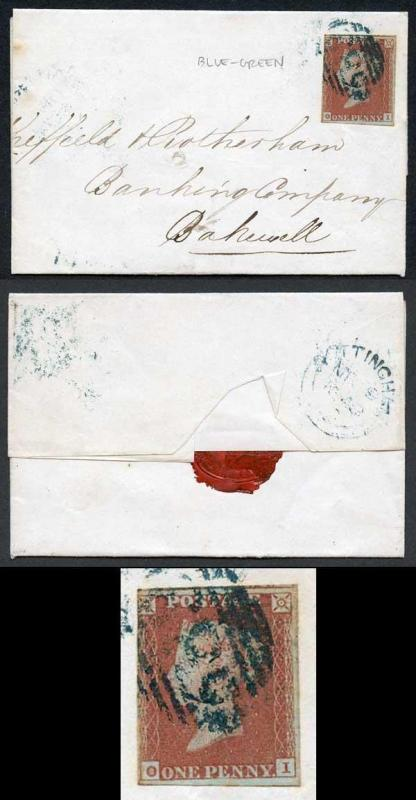 1841 Penny Red (OI) with a 583 (Nottingham) cancel in BLUE GREEN Cat 750 pounds