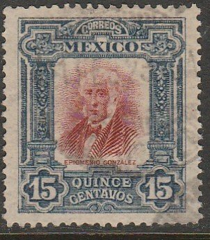 MEXICO 316, 15¢ INDEPENDENCE CENTENNIAL 1910 COMMEM USED. VF. (223)