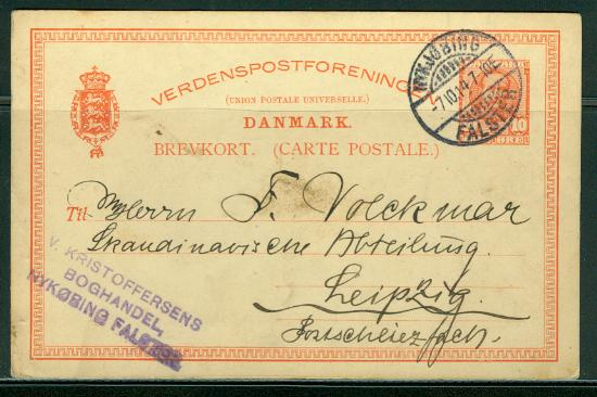 Denmark H & G # 45, pse postal card, used, issued 1910
