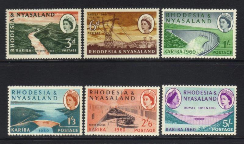 RHODESIA & NYASALAND 1960 OPENING OF KARIBA HYDOELECTRIC MH SET OF 6 CAT £21+