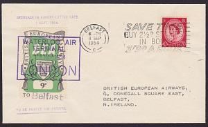 GB 1954 BEA 9d airmail stamp on flown cover London to Belfast...............5622