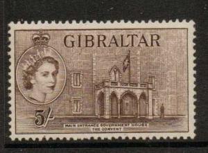 GIBRALTAR SG156 1963 5/- DEEP BROWN MOUNTED MINT