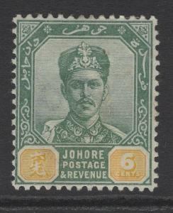 MALAYA JOHORE SG45 1896 6c GREEN & YELLOW MTD MINT