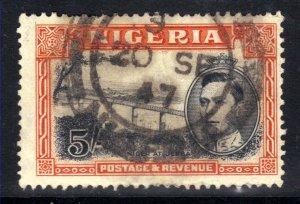Nigeria 1942 KGV1 5/-d Orange & Black SG 59a ( A677 )
