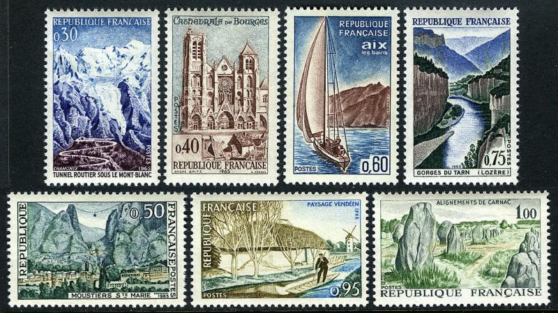 France 1124-1130, MNH. Views:Mont Blanc,Bourges,Aix-les-Bains,Vendee River, 1965