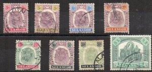 Malaysia - Selangor 1895-99 values to $1 FU CDS
