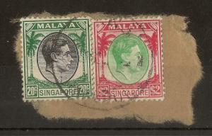 Singapore 1948 20c & $2 on Piece