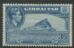 Gibraltar -Scott #111b -KGVI Pictorials -1938 - MLH -Perf. 13.5 -Single 3d Stamp