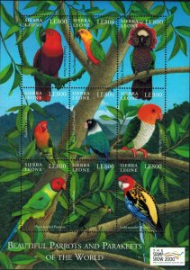 Sierra Leone MNH S/S Parrots & Parakeets Of The World 2000 9 Stamps