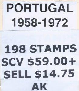 PORTUGAL 1958-1972 198 STAMPS SCV $59.00++