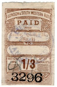 (I.B) London & South Western Railway : Paid Parcel 1/3d (Exeter)
