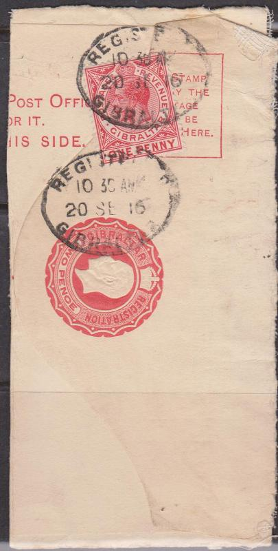 Gibraltar - Partial KGV Registered Envelope with Additional 1d Stamp