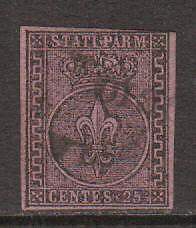 Parma Sc 4 used 1852 25c black on violet, Scarce