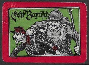 German World War 1 Cinderella, Poster Stamp, Echt Bayerisch, Embossed Crest