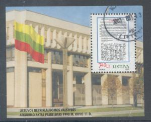 Lithuania Sc 662 2000 Independence stamp sheet used