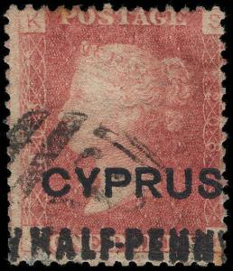 Cyprus Scott 8 Plate 208 Gibbons 7 Plate 208 Used Stamp