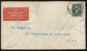 Canada 2 Cents Small Queen on cacheted 1892 local Toronto cover