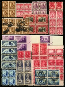 #628-#755, #C10 1926-1935 Assorted Blocks of 4-8 Mint Hinged Some MNH and Used
