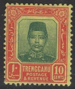 MALAYA TRENGGANU SG10 1915 10c GREEN & RED/YELLOW MTD MINT