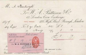 1898 LONDON CORN EXCHANGE RECEIPT