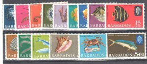 Barbados #267//280 MINT VF LH 1965 issue Marine Life Commonwealth QEII