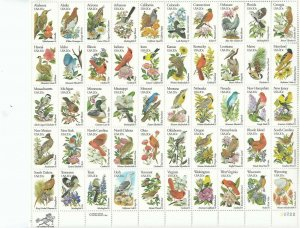 Stamp US Sc 1953-2002 Sheet 1982 State Birds and Flowers Nature Wildlife MNH