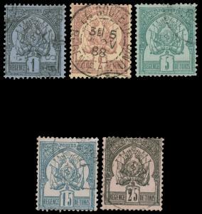 TUNISIA 1888-1897 COAT OF ARMS Used 1-5 CV$112 Maury @€175.00