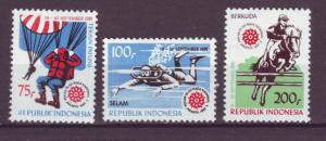 J21101 Jlstamps 1981 indonesia mh set #1132-4 sports
