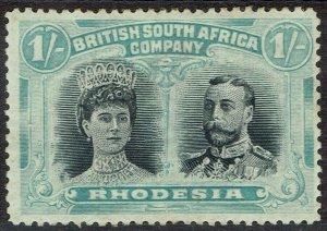 RHODESIA 1910 KGV DOUBLE HEAD 1/- PERF 14