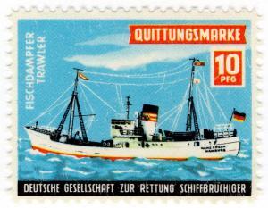 (I.B) Germany Cinderella : Lifeboat Charity Stamp 10pf (Trawler)
