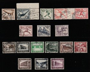 Germany the 1936 Olympics & Winer Relief sets used