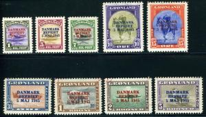 GREENLAND SCOTT# 19-27 MICHEL# 17-25 LIBERATION MINT NEVER HINGED AS SHOWN