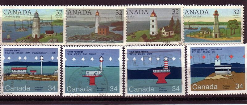 CANADA SET OF LIGHTHOUSES (8) USED STAMPS  LOT#131