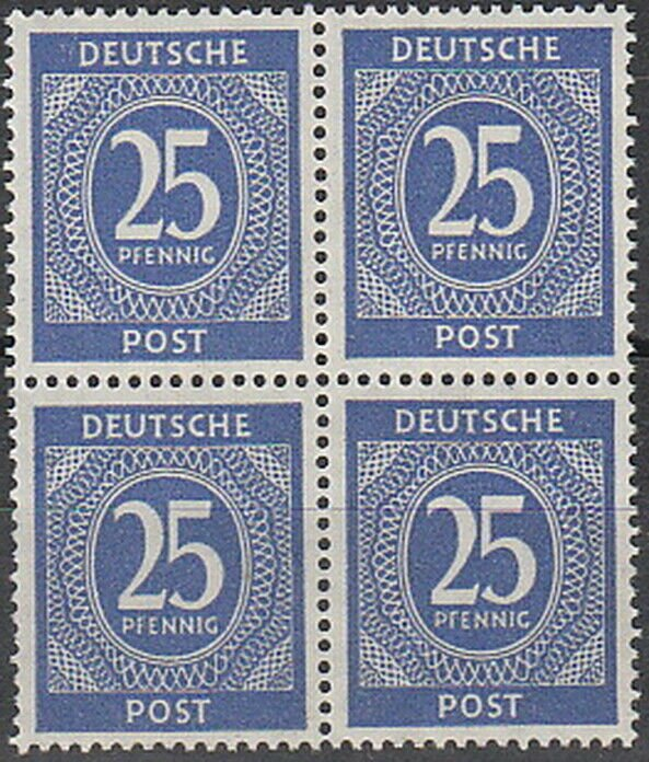 Stamp Germany SC 0545 Block Post WWII 1946 25PF MNG