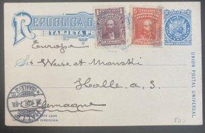 1906 La Paz Bolivia Postal Stationery Postcard Uprated Cover To Halle Germany